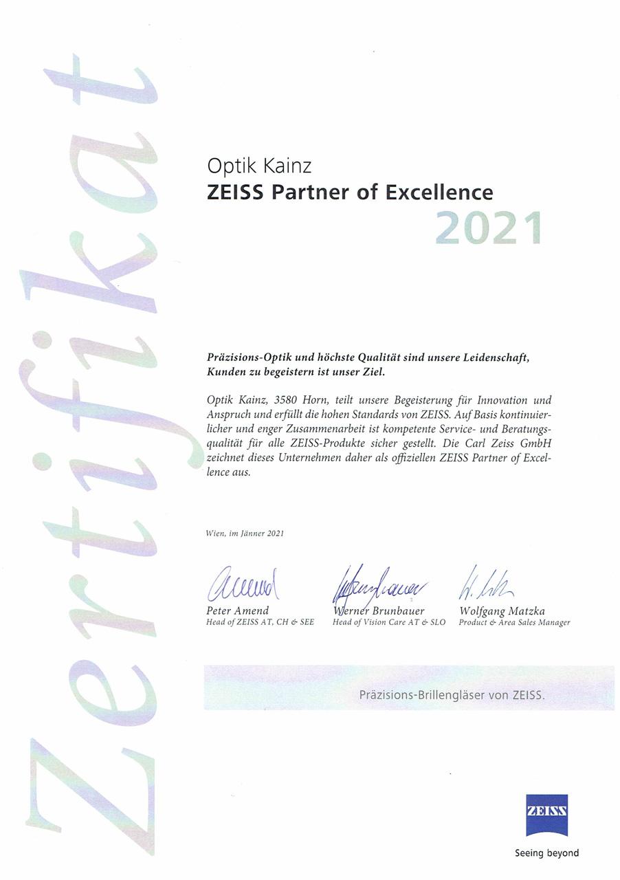 Optik Kainz - Zeiss Partner of Excellence 2021